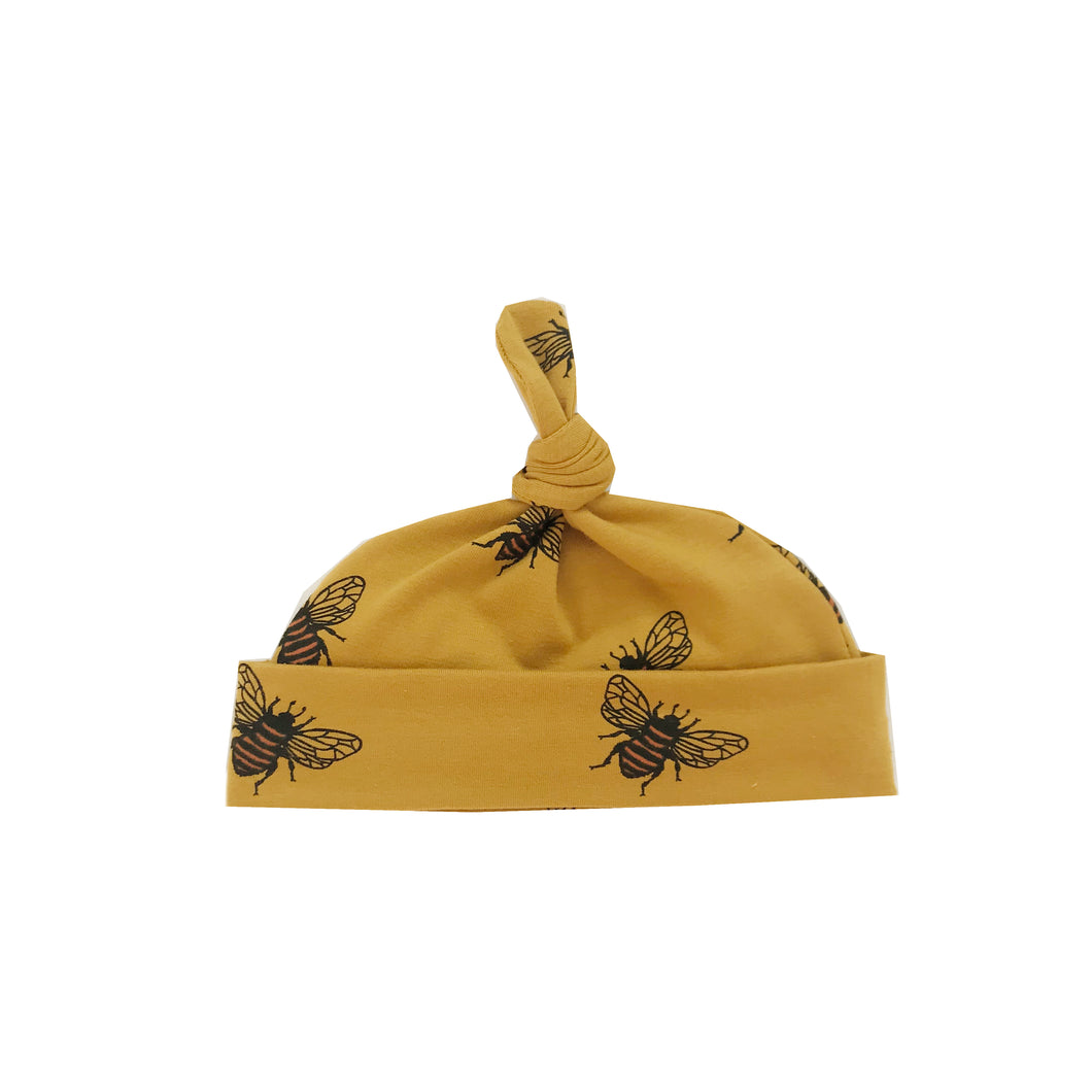 Mustard bee knot hat