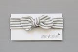 Grey stripe handmade top knot headband bow headwrap
