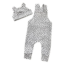 Load image into Gallery viewer, Dalmatian dots dungarees and bear hat set