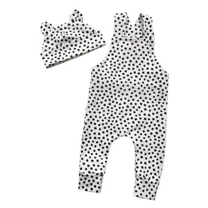 Dalmatian dots dungarees and bear hat set