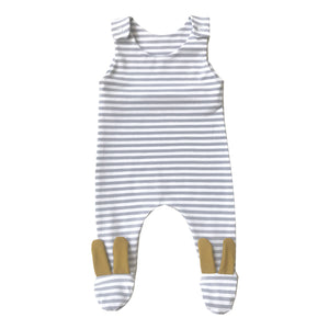 Grey stripe mustard bunny footed romper