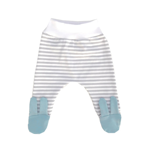 Grey stripe baby blue bunny footed leggings