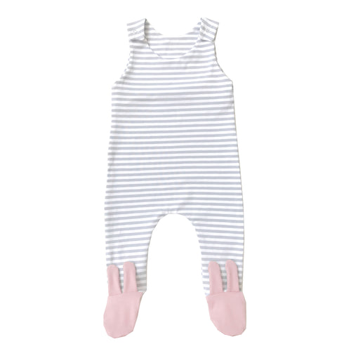 Grey stripe baby pink bunny footed romper