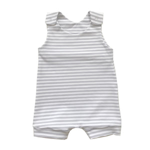 Grey stripe short romper