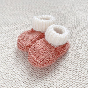 Light peach knitted booties