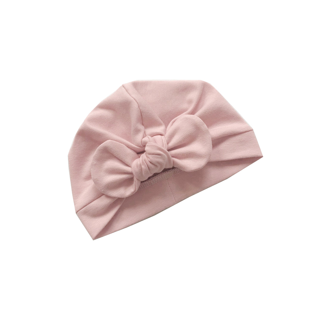 Baby pink bow turban