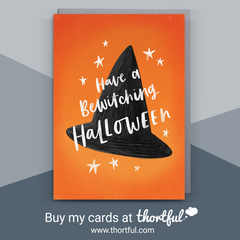 HAVE A BEWITCHING HALLOWEEN, WITCHES HAT, HALLOWEEN GREETINGS CARD