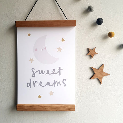 Sweet dreams nursery print, cute moon print, stars moon baby room