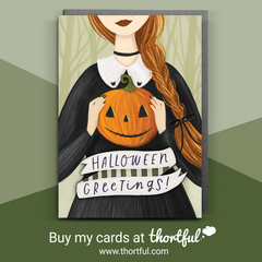 WITCH, WITCHY ILLUSTRATION, HALLOWEEN, HALLOWEEN CARD, HALLOWEEN GREETINGS CARD, THORTFUL