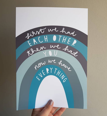 Teal nursery decor, everything quote print, rainbow poster for kids room