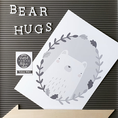 Grey bear print, gender neutral nursery decor, cute bear illustration