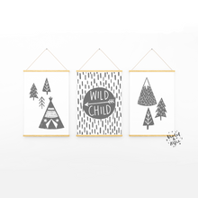 Load image into Gallery viewer, boho nursery  nordic illustration  teepee wall art  wild child print  wild child wall art  typographic posters  Set Of 3  Scandi Nursery Decor  Scandi kids room decor  modern nursery art