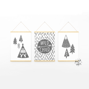boho nursery  nordic illustration  teepee wall art  wild child print  wild child wall art  typographic posters  Set Of 3  Scandi Nursery Decor  Scandi kids room decor  modern nursery art