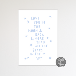 Minimalist Moon and Back Print - Violet and Alfie