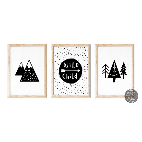 wild child print uk, wild child print set, Wild Kids Room Prints, scandi childrens room wall art