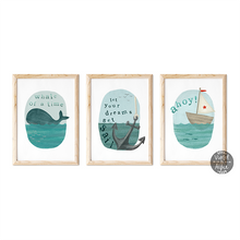 Load image into Gallery viewer, Nautical children's room prints - Violet and Alfie