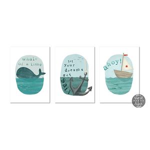 sea themed prints print nautical wall art nautical prints nautical print set Nautical Nursery Wall Art nautical kid's room decor nautical kid's Nautical illustration Nautical children's room prints