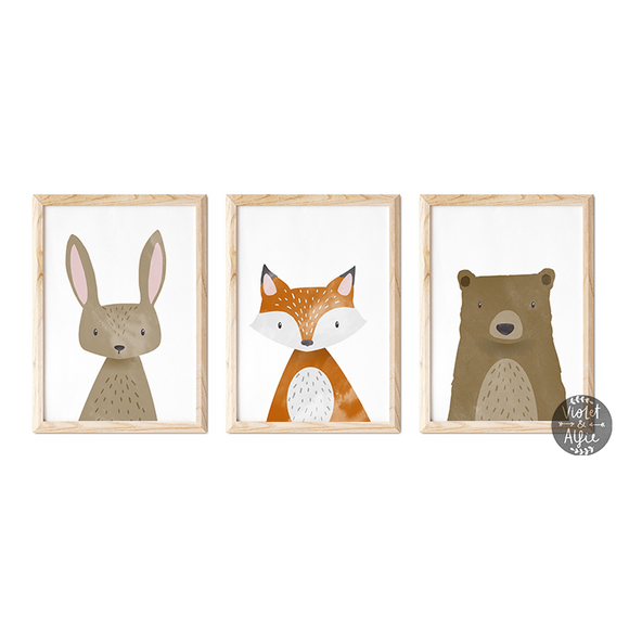 woodland animal print set, woodland nursery decor, Set of 3 prints, rabbit print, Kids wall art, fox print, cute animal prints, cute animal art, bear print, baby animal wall art, baby prints