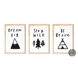 Monochrome Nursery Prints, Adventure Wall Art, Black and White Kid's Decor