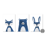 Dark blue animal print set | Bear | Fox | Rabbit