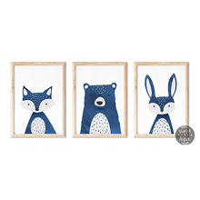 Load image into Gallery viewer, Dark Blue Animal Print Set | Bear | Fox | Rabbit - Violet and Alfie