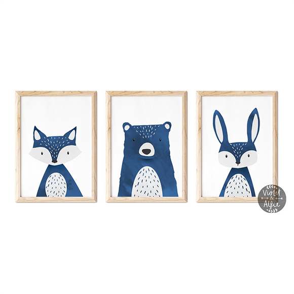 navy nursery art, blue animal prints, dark blue kids room decor, blue nursery wall art, woodland nursery decor