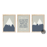 Mountains Boys Room Decor, Let Him Sleep Typographic Print Set, Adventure Nursery