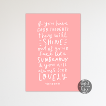 Load image into Gallery viewer, Roald Dahl sunbeams quote print - Violet and Alfie