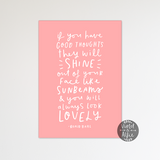 Roald Dahl sunbeams quote print - Violet and Alfie