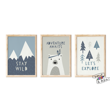 stay wild_adventure awaits_let's explore_bear print_typographic prints_adventure nursery_mountain prints_scandi nursery print set