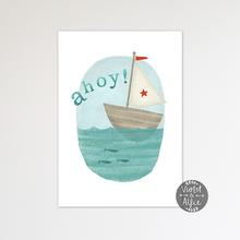 Load image into Gallery viewer, Nautical Kid's Sailboat Print - Violet and Alfie
