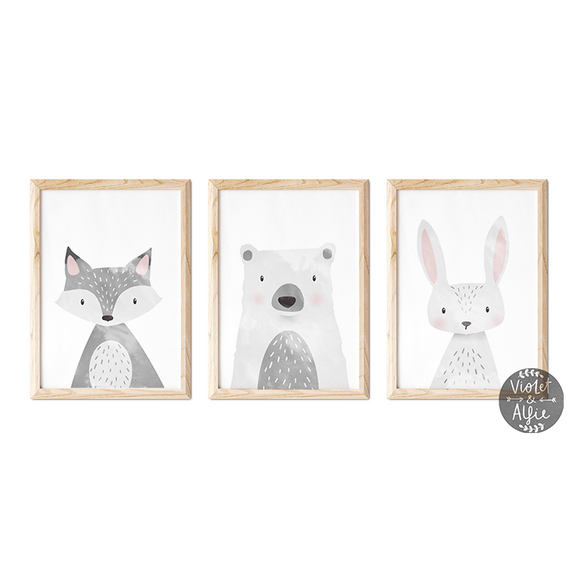 woodland nursery decor Set of 3 prints rabbit print Kids wall art grey nursery decor grey animal wall art fox print cute animal prints cute animal art bear print baby wall art baby prints Baby Decor Animal Wall Art Animal prints for nursery animal prints for baby