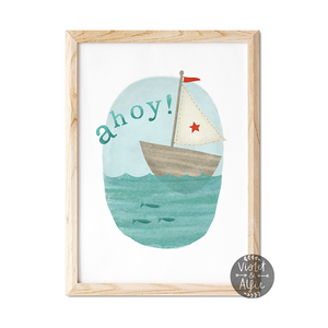 Nautical Nursery Whale Print - Violet and Alfie