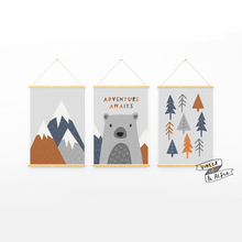 Load image into Gallery viewer, Kids Mountains Wall Art  grey and orange kids decor  cute animal art  bear print  Animal prints for nursery  Adventure nursery art prints  Adventure Awaits Typographic Print Set  adventure awaits
