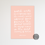 Roald Dahl Glittering eyes quote print