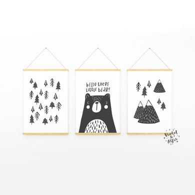 nordic nursery _nordic tree art _scandi design nursery decor_ minimalist nursery wall art_monochrome kids room art_bear print_hello there little bear