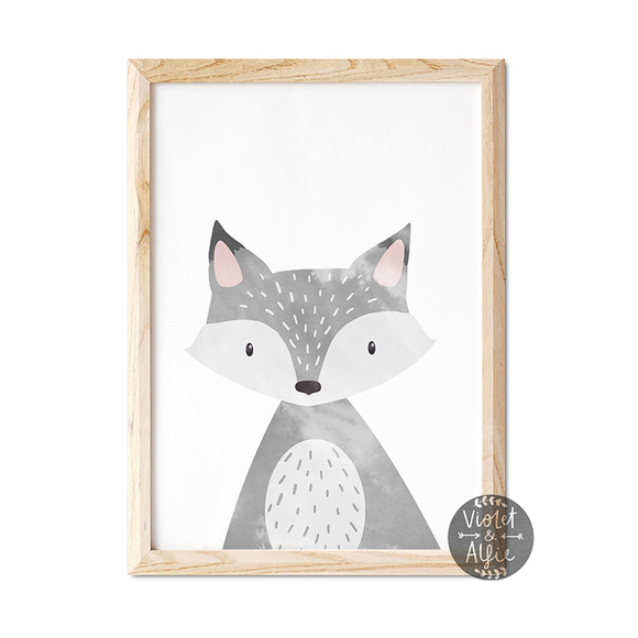 grey fox print, cute fox wall art, animal prints