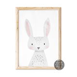 Cute Bunny Wall Art, Girl's Room Print, Grey Baby Girl Decor