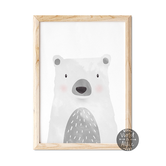 cute bear print, grey bear poster, animal prints for nursery