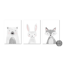 Load image into Gallery viewer, Grey fox print - Violet and Alfie