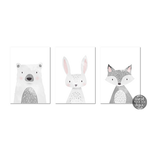Grey fox print - Violet and Alfie