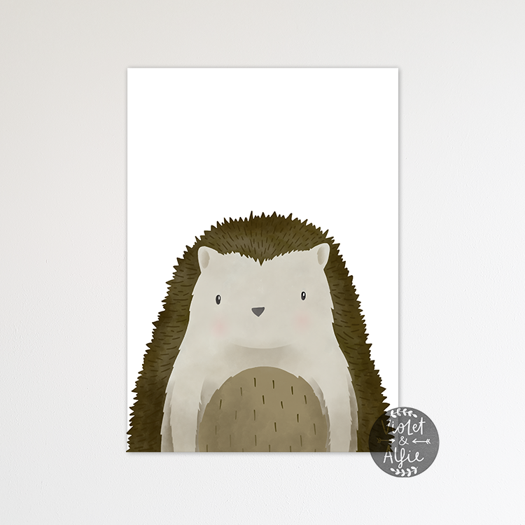 Woodland hedgehog print - Violet and Alfie