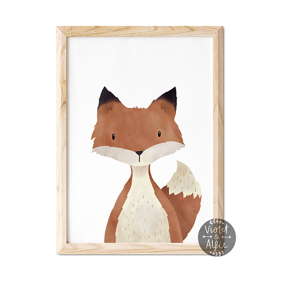 woodland fox print, woodland nursery decor