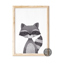 Load image into Gallery viewer, Woodland Racoon print - Violet and Alfie