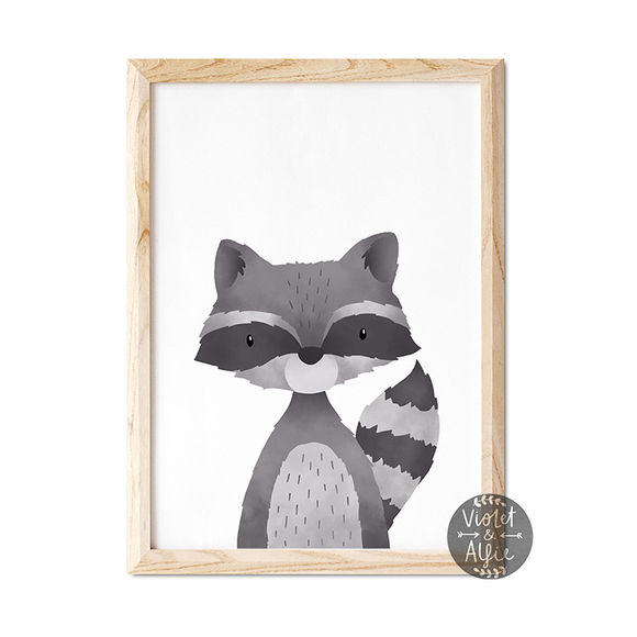 Woodland Racoon print - Violet and Alfie