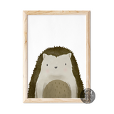 woodland hedgehog print, cute hedgehog art
