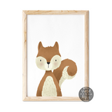 woodland squirrel print, cute squirrel wall art