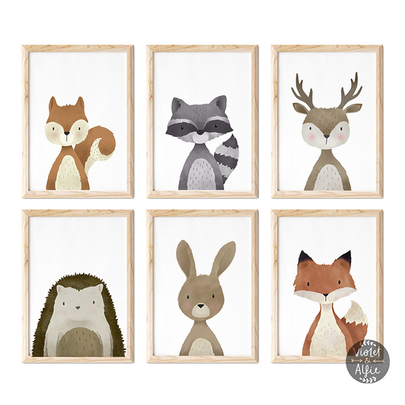 Set of six woodland prints - Violet and Alfie