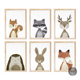 woodland prints, set of 6 prints, animal prints uk