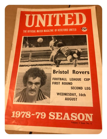 Hereford United Official Match Magazine 1978-79 Season: Bristol Rovers 16th Aug